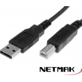 CABLE USB PARA IMPRESORA A TO B 3MTS 2.0 NETMAK NM-C03 3